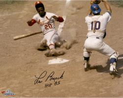 """Lou Brock St. Louis Cardinals Autographed 16"""" x 20"""" Slide Home Photograph with HOF 1985 Inscription"""