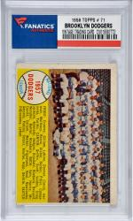 Brooklyn Dodgers Team 1958 Topps #71 Card 1 with Roy Campanella-Sandy Koufax-Duke Snider