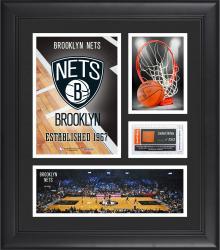 "Brooklyn Nets Team Logo Framed 15"" x 17"" Collage with Team-Used Baseketball"