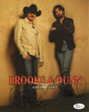 BROOKS+DUNN HAND SIGNED 8x10 COLOR PHOTO       AWESOME     COWBOY TOWN       JSA