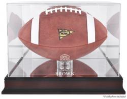 Brown Bears Mahogany Base Logo Football Display Case with Mirror Back