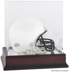 Brown Bears Mahogany Logo Mini Helmet Display Case with Mirror Back