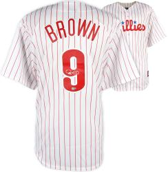 Domonic Brown Philadelphia Phillies Autographed Majestic Replica Home Jersey - Mounted Memories