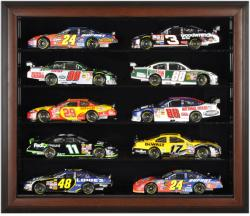 10-Die-Cast Car Brown Framed Wall Mount Display Case - Mounted Memories