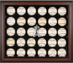 Los Angeles Angels of Anaheim Logo Brown Framed 30-Ball Display Case - Mounted Memories