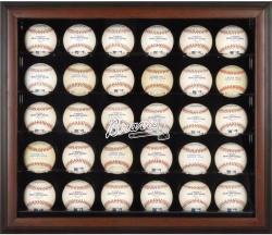 Atlanta Braves Logo Brown Framed 30-Ball Display Case