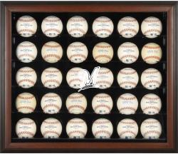 Milwaukee Brewers Logo Brown Framed 30-Ball Display Case