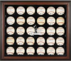 St. Louis Cardinals Logo Brown Framed 30-Ball Display Case