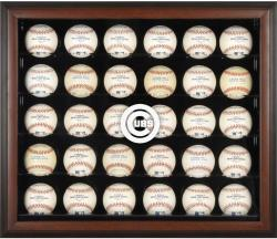 Chicago Cubs Logo Brown Framed 30-Ball Display Case