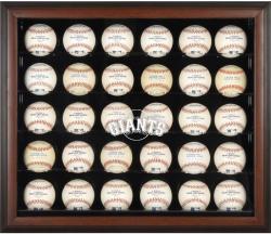 San Francisco Giants Logo Brown Framed 30-Ball Display Case