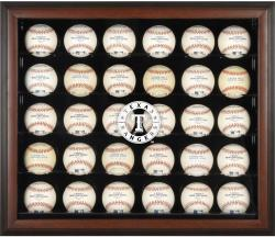 Texas Rangers Logo Brown Framed 30-Ball Display Case - Mounted Memories