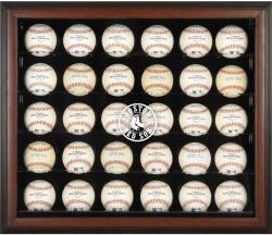 Boston Red Sox Logo Brown Framed 30-Ball Display Case - - Mounted Memories
