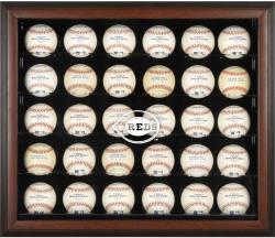 Cincinnati Reds Logo Brown Framed 30-Ball Display Case - Mounted Memories