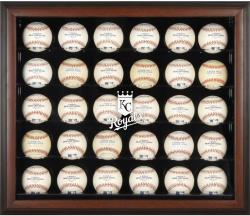 Kansas City Royals Logo Brown Framed 30-Ball Display Case - Mounted Memories