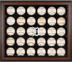 Detroit Tigers Logo Brown Framed 30-Ball Display Case - Mounted Memories