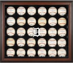 Detroit Tigers Logo Brown Framed 30-Ball Display Case