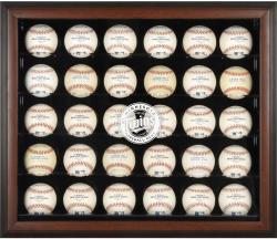 Minnesota Twins Logo Brown Framed 30-Ball Display Case - Mounted Memories