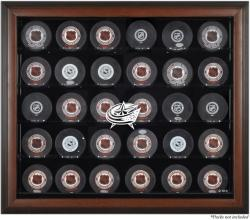 Columbus Blue Jackets 30-Puck Brown Display Case - Mounted Memories