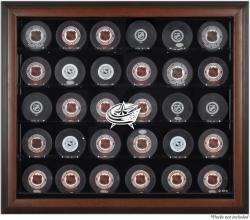 Columbus Blue Jackets 30-Puck Brown Display Case
