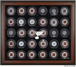 St. Louis Blues 30-Puck Brown Display Case - Mounted Memories