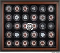 Boston Bruins 30-Puck Brown Display Case - Mounted Memories