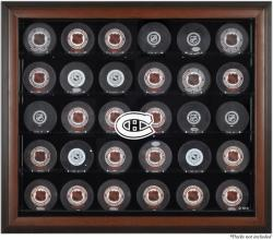 Montreal Canadiens 30-Puck Brown Display Case - Mounted Memories