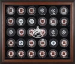 Vancouver Canucks 30-Puck Brown Display Case
