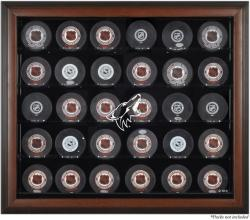 Arizona Coyotes 30-Puck Brown Display Case - Mounted Memories