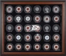 Anaheim Ducks 30-Puck Brown Display Case - Mounted Memories