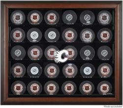 Calgary Flames 30-Puck Brown Display Case