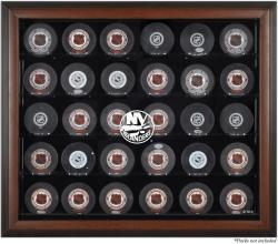 New York Islanders 30-Puck Brown Display Case - Mounted Memories
