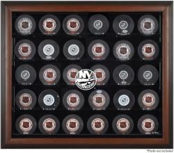 New York Islanders 30-Puck Brown Display Case