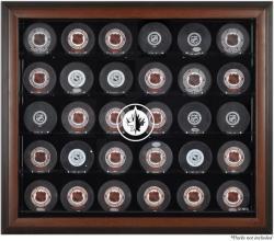 Winnipeg Jets Brown Framed 30 Hockey Puck Logo Display Case