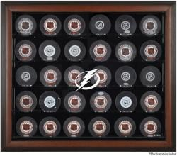 Tampa Bay Lightning 30-Puck Brown Display Case - Mounted Memories