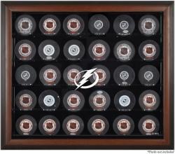 Tampa Bay Lightning 30-Puck Brown Display Case
