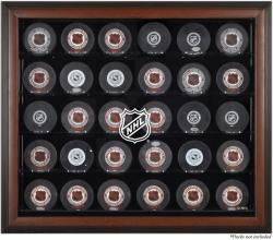 NHL Shield 30-Puck Brown Display Case - Mounted Memories