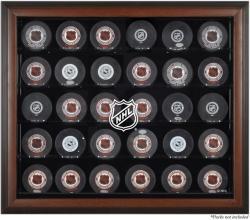NHL Shield 30-Puck Brown Display Case
