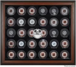 Edmonton Oilers 30-Puck Brown Display Case - Mounted Memories