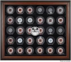 Edmonton Oilers 30-Puck Brown Display Case