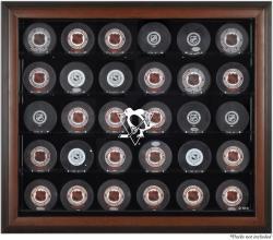 Pittsburgh Penguins 30-Puck Brown Display Case