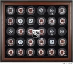 New York Rangers 30-Puck Brown Display Case - Mounted Memories