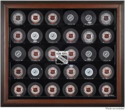New York Rangers 30-Puck Brown Display Case
