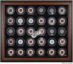Detroit Red Wings 30-Puck Brown Display Case