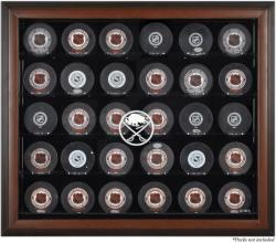 Buffalo Sabres 30-Puck Brown Display Case - Mounted Memories
