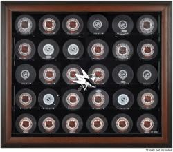 San Jose Sharks 30-Puck Brown Display Case
