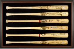 Baseball Bat Display Case with Brown Wood Frame for 6 Bats
