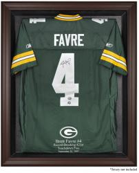 Green Bay Packers Brett Favre Record Breaking 421st TD Pass Brown Framed Logo Jersey Display Case - Mounted Memories