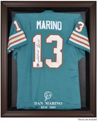 Miami Dolphins Dan Marino Hall of Fame Brown Frame Jersey Case - Mounted Memories