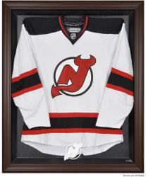 New Jersey Devils Brown Framed Logo Jersey Display Case - - Mounted Memories