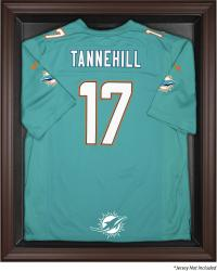 Miami Dolphins Brown Framed Jersey Display Case - Mounted Memories